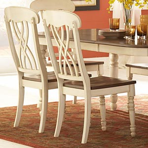 White and Oak Side Chair, Set of Two